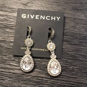 Givenchy Swarovski Crystal Tear Drop Earrings